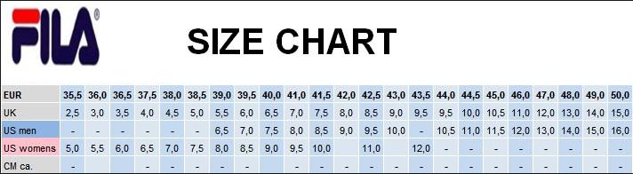 Fila Shoe Size Chart Women S